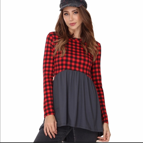 Tunic Top With Checkered Design